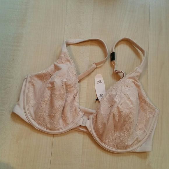 Victorias Secret Body by Victoria Black Front Close Lace Racerback Unlined Bra